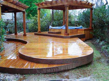 tiered deck with pergola